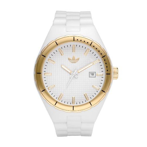 Adidas Originals Unisex White Cambridge Analogue Watch - ADH2125 With Date Display And Gold Ip Topring