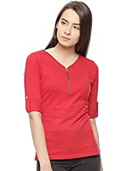 Vvoguish RED Solid Print 100% Cotton Top VVTOP1207RED_M