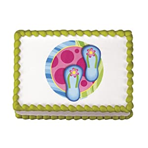Click to buy Edible Flip Flops Luau Cake Decal (1 pc)from Amazon!