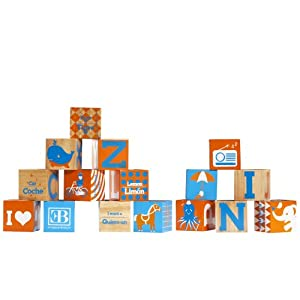 Elegant Baby Spelling Blocks, Orange/Blue