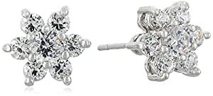 """CZ by Kenneth Jay Lane """"Basics"""" Floral Rounds Cubic Zirconia Stud Post Earrings, 2 CTTW"""
