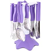 The Maxim Pink Stainless-Steel Cutlery Set (24 Pieces) -- 6 Tea Spoon, 6 Dinning Spoon, 6 Butter Knife, 6 Forks...