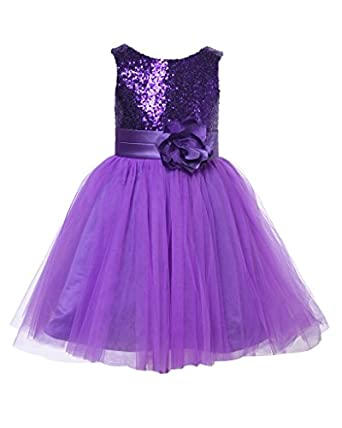 Amazon.com: Thstylee Girl's Sequin Tulle Flower Girl ...