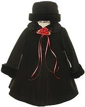 Kids Dream Black Fleece Faux Fur Collar Stylish Coat Baby Girl 6-24M