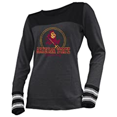 NCAA Arizona State Sun Devils Ladies Striped Long Sleeve Tee by Ouray Sportswear