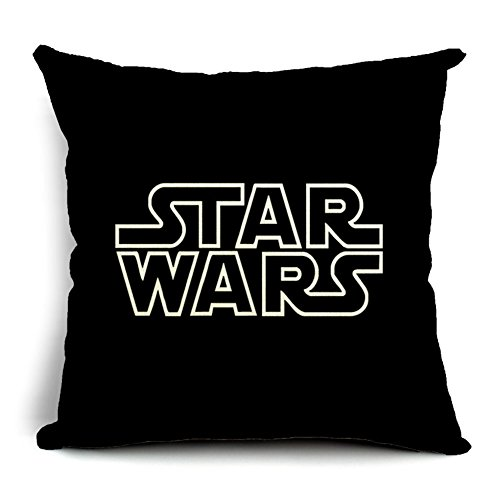 Poens Dream Kissenbezug, Cute Star Wars Characters Printed Cotton Linen Decorative Pillow Cushion Cover, 17.7 x 17.7inches