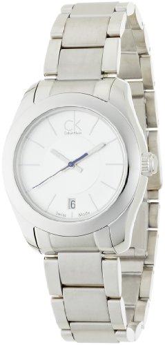 Calvin Klein K0K23120 - Reloj analógico de mujer de cuarzo con correa de acero inoxidable plateada - sumergible a 30 metros