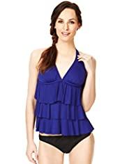 Halterneck Layered & Flared Padded Tankini Top