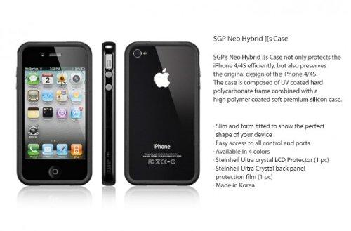 国内正規代理店品SPIGEN SGP iPhone4/4Sケース ネオ・ハイブリッド2S ビビッドシリーズ [ソウルブラック] SGP08359