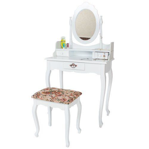 TecTake Dressing Table with mirror and stool Make up bedroom dressingtable white