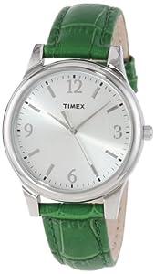 Timex Women's T2P092TN Dark Green Croco Patterned Leather Strap Watch