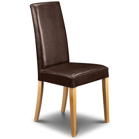 Pair of Athena Brown Faux Leather Dining Chairs