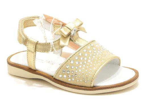 Blumarine sandalo gioiello bambina in camoscio e pelle laminata colore beige platino nr 22