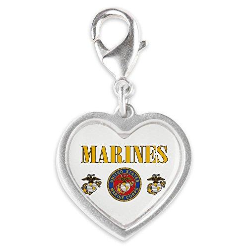 Silver Heart Charm Marines Us Marine Corps Seal