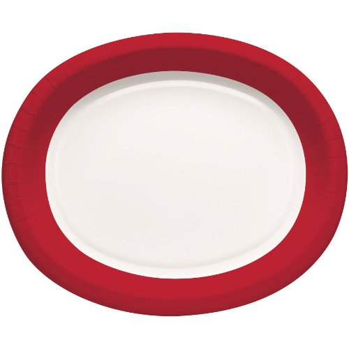 "Creative Converting Touch of Color 8 Count 12"" Paper Oval Platters, Red Rim, Classic Red/Black Velvet"