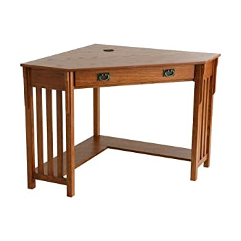 Corner Computer Desk - Mission Oak