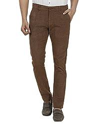 FEVER Men Self Design Trousers, Coffee