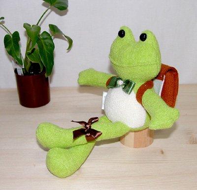 Plush bag 'frog' tea 8a116-3