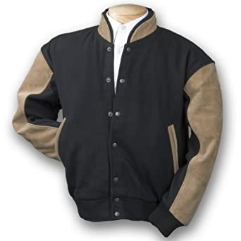 Burk's Bay Men's Wool & Tan Suede Varsity Baseball Jacket, Small, Black/Tan