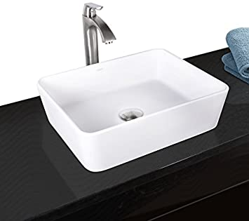 VIGO Sirena Matte Stone Vessel Bathroom Sink and Linus Vessel Faucet with Pop Up, Brushed Nickel