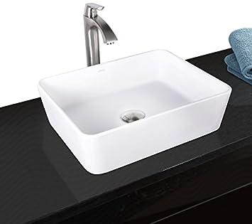 VIGO Sirena Matte Stone Vessel Bathroom Sink and Linus Vessel Faucet with Pop Up, Brushed Nickel