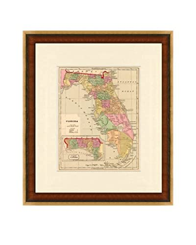 Map Antiquities Antique Map Of Florida, 1856, Multi