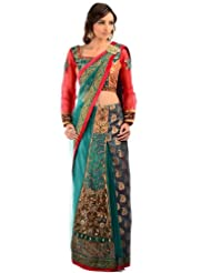 Chhabra555 Green Net One Minute Saree - B00J4ROZMO