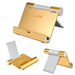 iPad Stand, LoHi® Portable Multi-Angle Mini Aluminum Tablet Phone Stand for Apple iPad, iPhone 6s/6/5/4, Samsung Galaxy Tab, Galaxy S6 S5, Note 5/4,Kindle, E-readers and Smartphones (Gold)