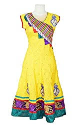 revin yellow with green colour embroidery and stone work anarkali kurti