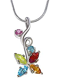 Surat Diamond Beautiful Multi Colored Precious Gemstones In 925 Sterling Silver Pendant For Girls With 18 IN Silver...