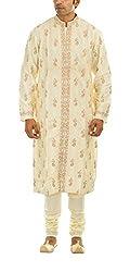Mr White Man's Silk Kurta Pyjama Set (Mr-white-DESIGNER-K_P-04_42, Beige, 42)