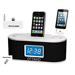 Ottavo OT3010ws Docking Station for iPhone 5s, 5c, 5, 4, 4S, 3G, 3GS, iPod & iPod Touch with Dual Alarm, Radio, Clock and Remote Control (White Color)