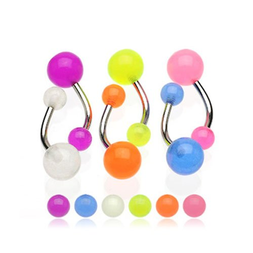 Lot of 6 Glow In Dark Belly Rings Navel Rings (6 Pieces) Belly Button Navel with Surgical Steel Barbell 14 Gauge 1 Free Belly Retainer