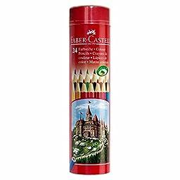 Faber Castell Coloured Pencils Castle Hexagonal Round Tin 12 24 36 Colors Pencil (24Colors)