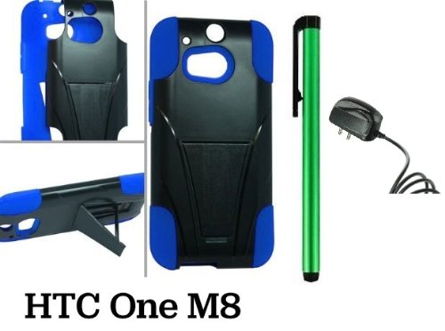 Htc One M8 Premium Pretty T-Stand Design Protector Hard Cover Case (2014 Q1 Released; Carrier: Verizon, At&T, T-Mobile, Sprint) + Travel (Wall) Charger + 1 Of New Assorted Color Metal Stylus Touch Screen Pen (Blue / Black)