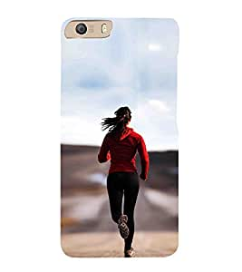 iFasho Girl Jugging Back Case Cover for Micromax CanvasKnight2E471