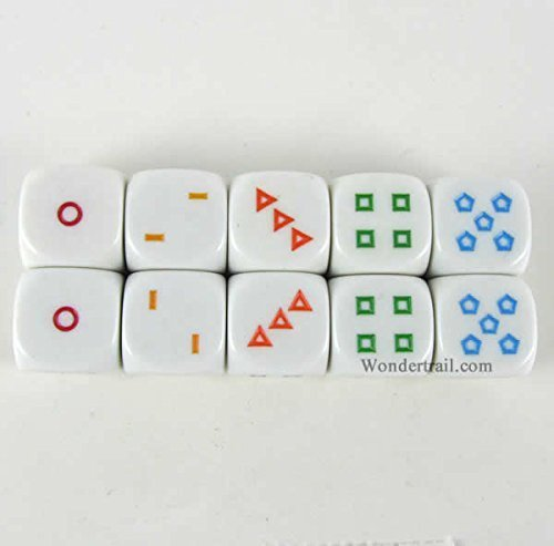 Shapes Dice D6 16mm (5/8in) Pack of 10 Dice Koplow Games