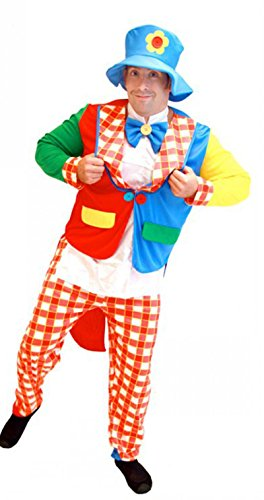 Treasure-box Funny Adult Clown Costume Halloween with Blue Hat