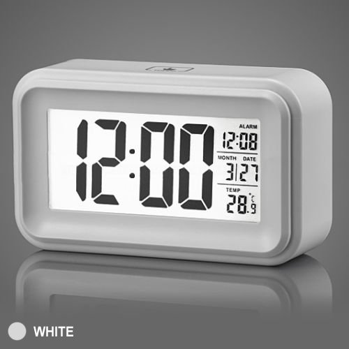 Jcc Touch Smart Light-Activated Sensor Bedside Digital Snooze Alarm Clock With Date And Temperature Display Batteries / Usb / Dc Powered (White) front-833708