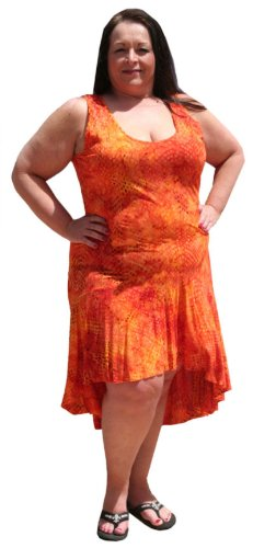 Plus Size Petite Playful Hi Low Sundress for Spring and Summer by BBW Boutique (1X/2X: Bust: 44-50 inches, Molten Gold) (Bbw Clothing compare prices)