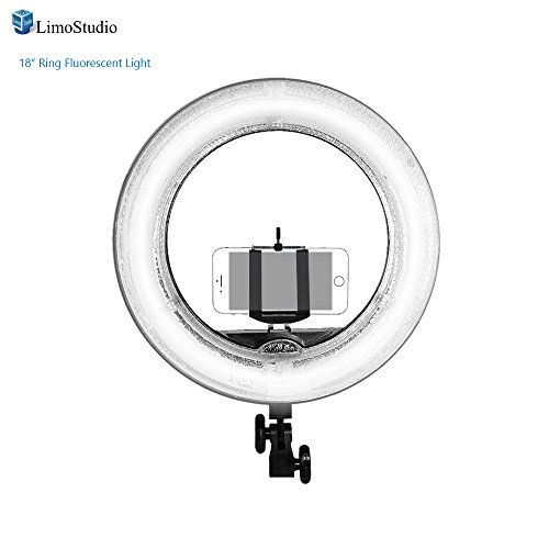 LimoStudio-18-inch-Fluorescent-Ring-Light-75W-5500K-Dimmable-with-Cell-Phone-Holder-Clamp-Clip-Shoe-Mount-Adapter-Camera-Photo-Studio-AGG2039