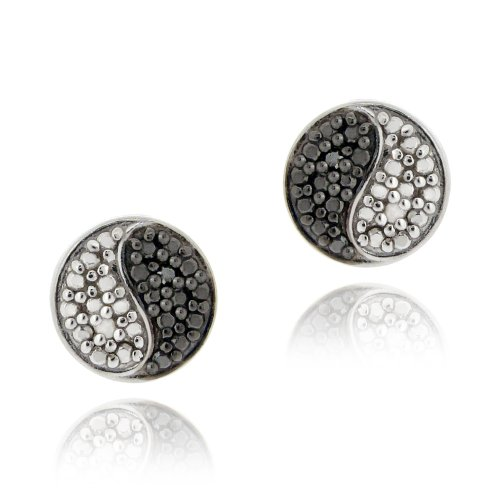 Sterling Silver Black & White Diamond Accents Yin Yang Stud Earrings