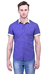 Trendster Blue Solids Half Sleeve Casual Men's Shirt