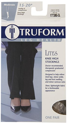Truform Moderate Sheer Knee High Compression Stocking, Beige, XXX-Large, 15-20 mmhg, 0.15 Pound
