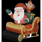 3 Ft. - Gemmy Christmas Airblown Inflatable - Santa Sleigh with Elf