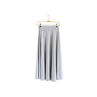 Women Drawing Elastic Waist Pockets Cotton A-Line Long Skirt