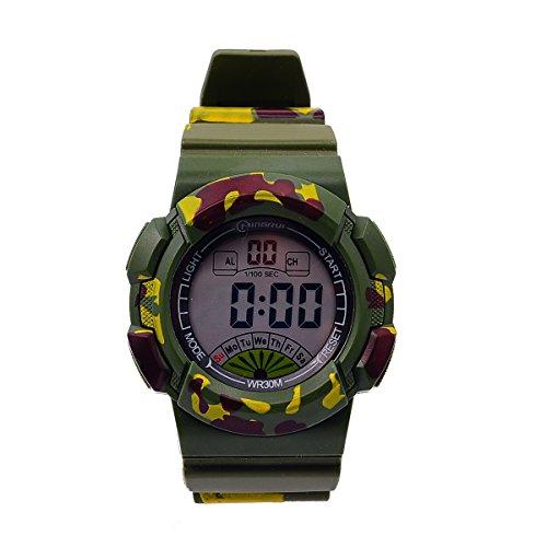 8Years- 1 Stueck Gruen Kinder Nachtleuchtende Gross Armbanduhr Digitaluhr Stoppuhr Wasserdicht