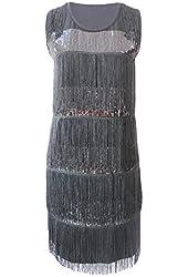 KAYAMIYA Women's 1920s Gatsby Layers Tassel Fringe Sequined Flapper Costume Dress