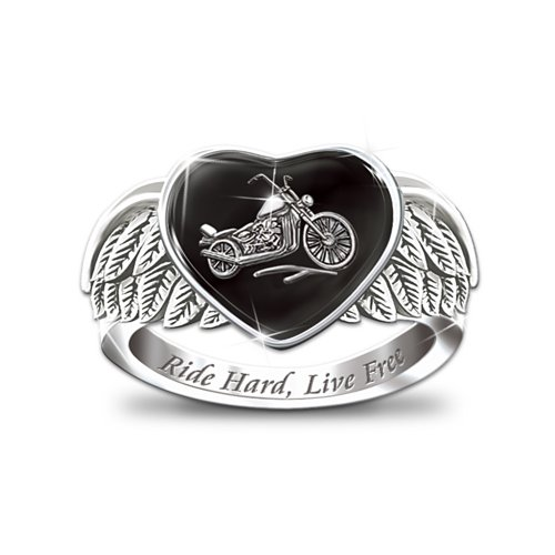 Ride Hard, Live Free Engraved Sterling Silver Ladies Motorcycle Ring: Jewelry Gift For Her by The Bradford Exchange