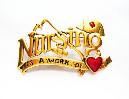 Danecraft Gold-Plated Nursing It'S A Work Of Love Heart Bandaid Pin Brooch